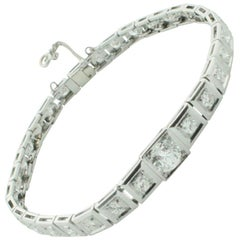 Platinum Diamond One Carat Center Tennis Bracelet circa 1940s 3.40 Carat