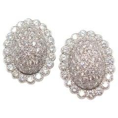 Platinum Diamond Oval Shaped Earclips