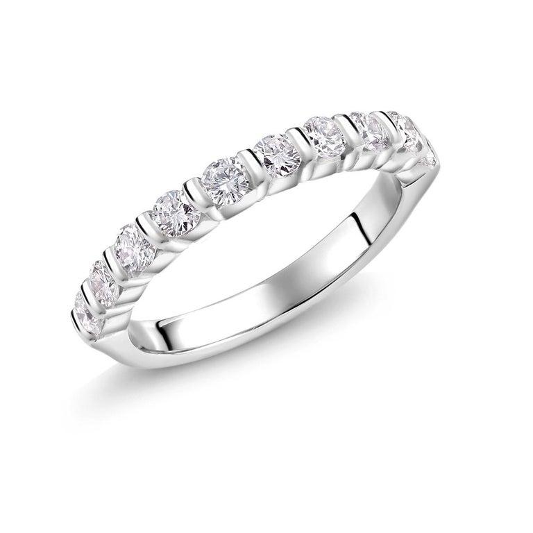 Round Cut Platinum Diamond Partial Bar Set Band Weighing For Sale
