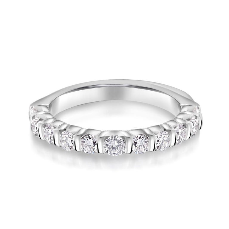 Women's or Men's Platinum Diamond Partial Bar Set Band Weighing For Sale