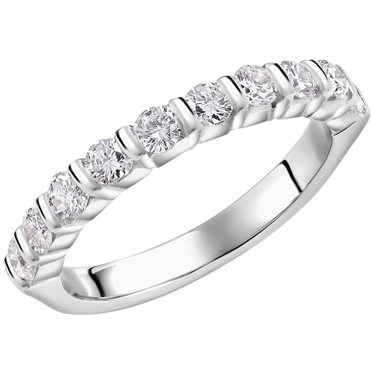 Platinum bar set diamond partial wedding or anniversary ring  Diamond weight 0.60 carat Ten stones Diamond quality G VS New Ring Ring size 6 In Stock Ring can be resized Handmade in USA