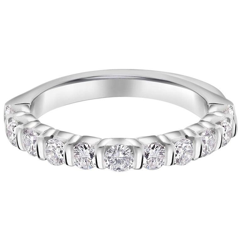 Platinum Diamond Partial Bar Set Band Weighing For Sale