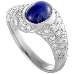Platinum Diamond Pave and Sapphire Cabochon Band Ring