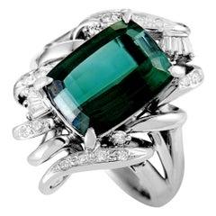 Platinum Diamond Pave and Tourmaline Rectangle Ring