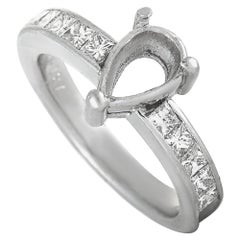 Platinum Diamond Pave Pear Mounting Ring