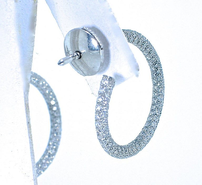 Women's or Men's Platinum Diamond Pave Small Hoops For Sale