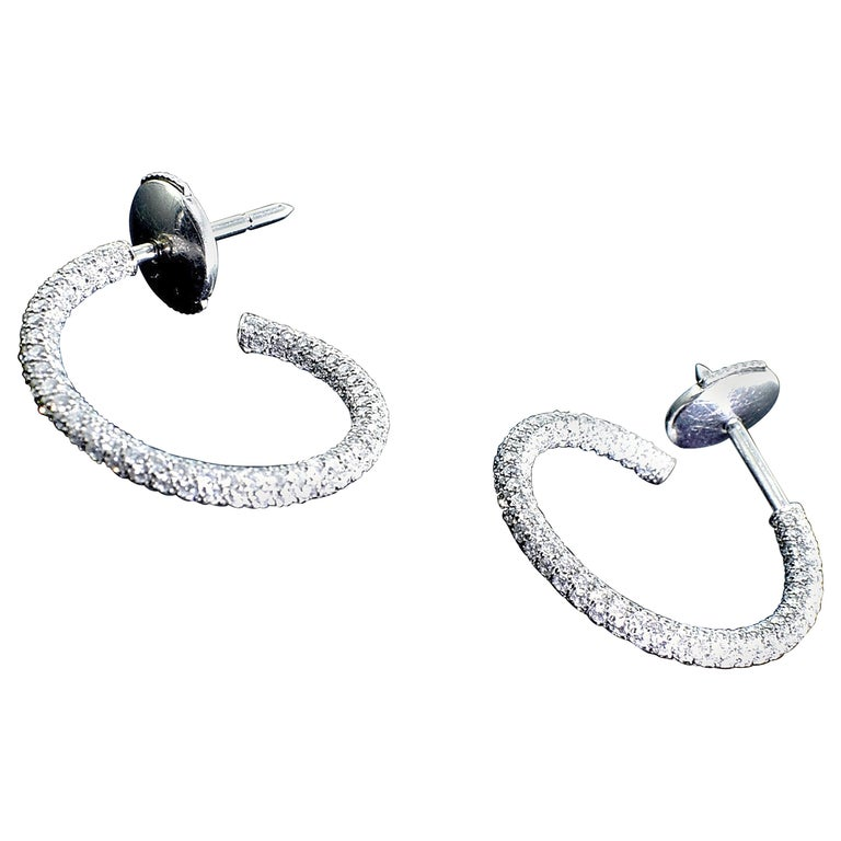 Platinum Diamond Pave Small Hoops For Sale