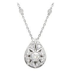 Platinum Diamond Pear Shaped Pendant