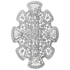 Platinum Diamond Pearl Brooch