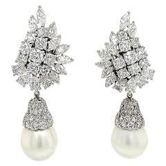 Platinum Diamond Pearl Earrings Dangle Omega Back White Cultured 9.47 Carat