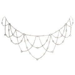 Platinum Diamond Pearl Webbing Choker Necklace