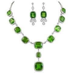 Platinum Diamond, Peridot Necklace and Earrings