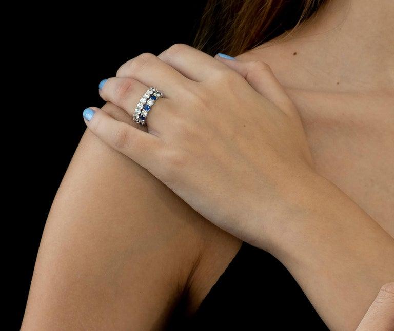 Round Cut Platinum Diamond Prong Set Eternity Ring Weighing 3.00 Carat For Sale