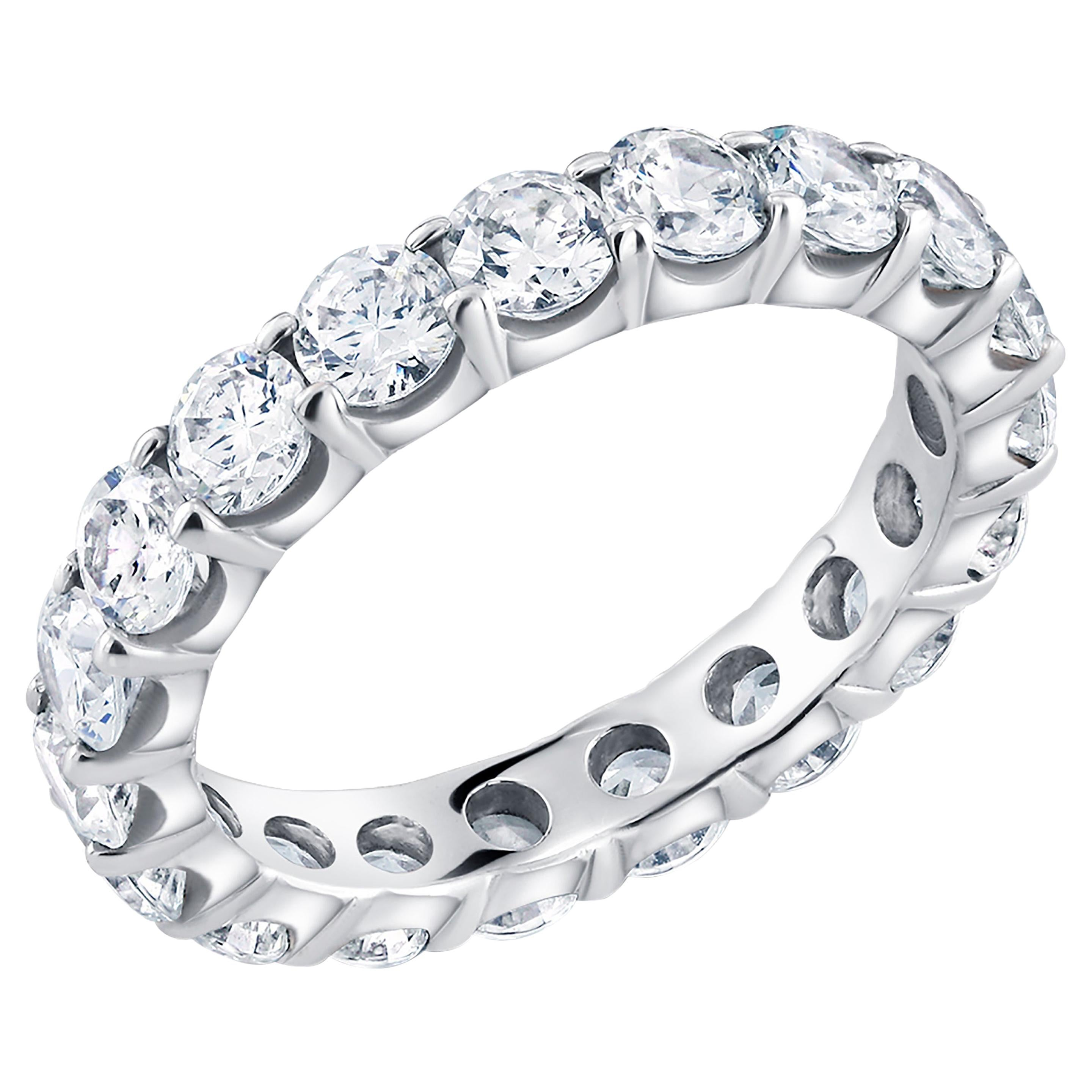 Platinum Diamond Prong Set Eternity Ring Weighing 3.00 Carat