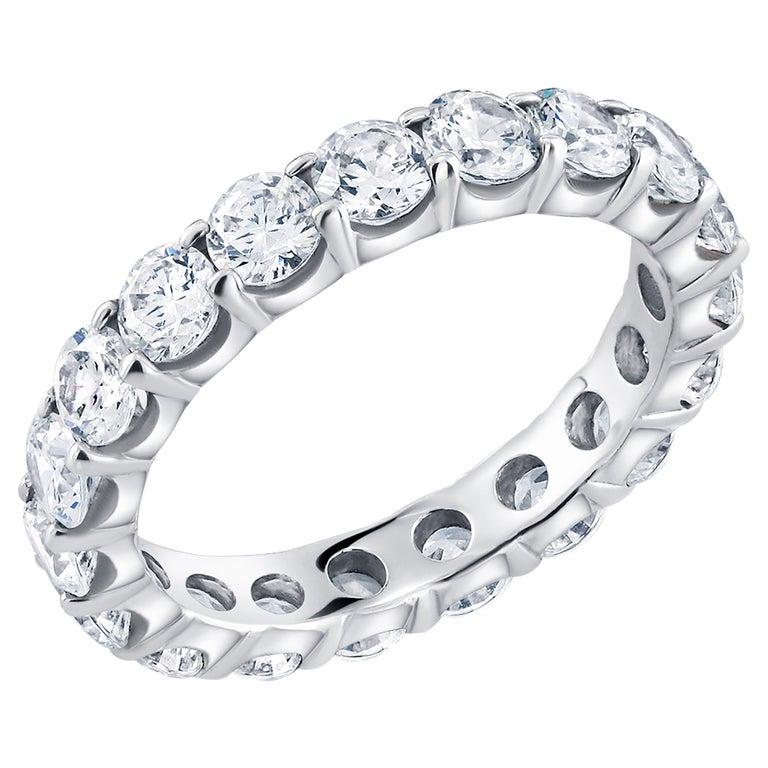 Platinum Diamond Prong Set Eternity Ring Weighing 3.00 Carat For Sale