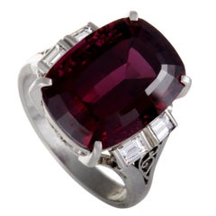 Platinum Diamond Rectangle Cushion Pink Tourmaline Ring