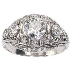 Platinum Diamond Ring, 1.38 Carat