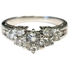 Platinum Diamond Ring 1.69 Total Weight