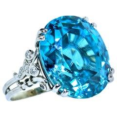 Platinum & Diamond Ring Centering a Very Fine Large Natural Blue Zircon c. 1940