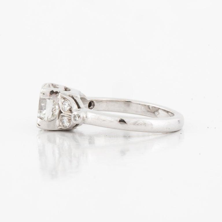 Art Deco Platinum Diamond Ring GIA Certified For Sale