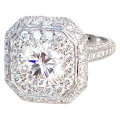 Platinum Diamond Ring, Round 1.75 FVVS2-GIA