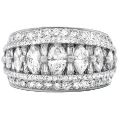Platinum Diamond Ring with Marquise, Baguette and Round Diamonds