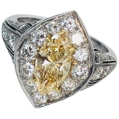 Platinum Diamond Ring with Natural Color Marquise Diamond 1.33 Carat