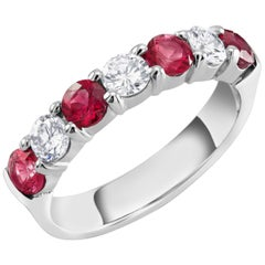 Platinum Diamond 4.4 Millimeter Ruby Partial Wedding Ring Size Eight