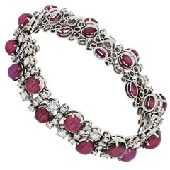 Platinum, Diamond, Ruby 8.50 Carat Bracelet