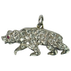 Platinum Diamond Ruby Bear Charm Pendant
