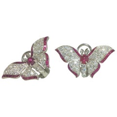 Platinum Diamond Ruby Butterfly Earrings