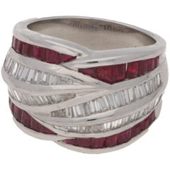 Platinum Diamond Ruby Dress Ring