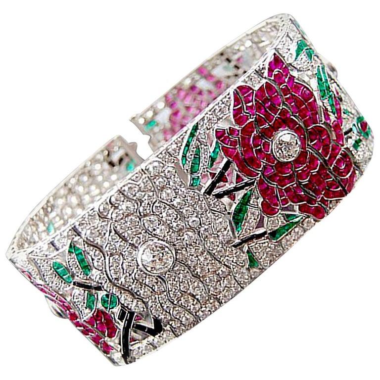 Diamond Ruby Emerald Onyx Platinum Flower Bracelet For Sale