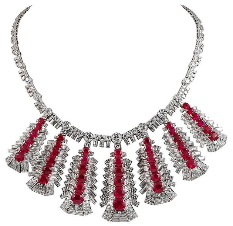 Platinum Diamond and Ruby Necklace