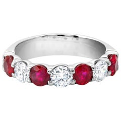 Platinum Seven Stone Diamond Ruby Partial Band Weighing 2.80 Carats