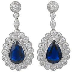 Diamond Sapphire Platinum Drop Earrings