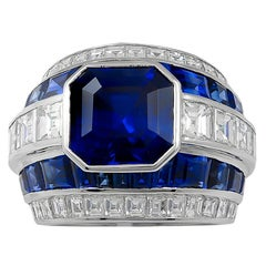 Contemporary Diamond Sapphire Platinum Ring