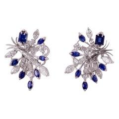 Platinum Diamond Sapphire Earrings