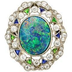 Platinum Diamond Sapphire Emerald Opal Art Deco Style Ring with GIA Report
