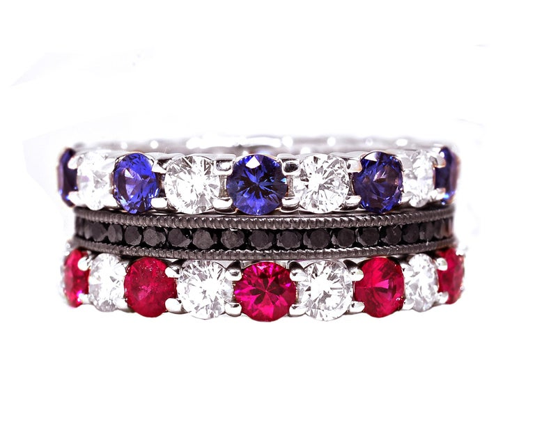 Platinum Diamond Sapphire Prong Set Eternity Ring Weighing Four Carats In New Condition For Sale In New York, NY