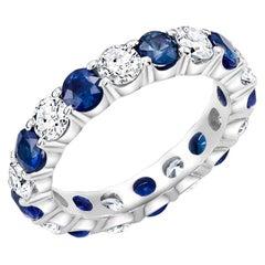 Platinum Diamond Sapphire Prong Set Eternity Special Order Band Ring