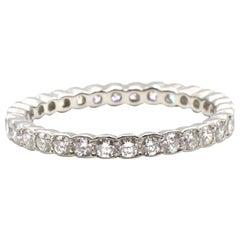 Platinum Diamond Scalloped Eternity Wedding Band Ring .40 Carat