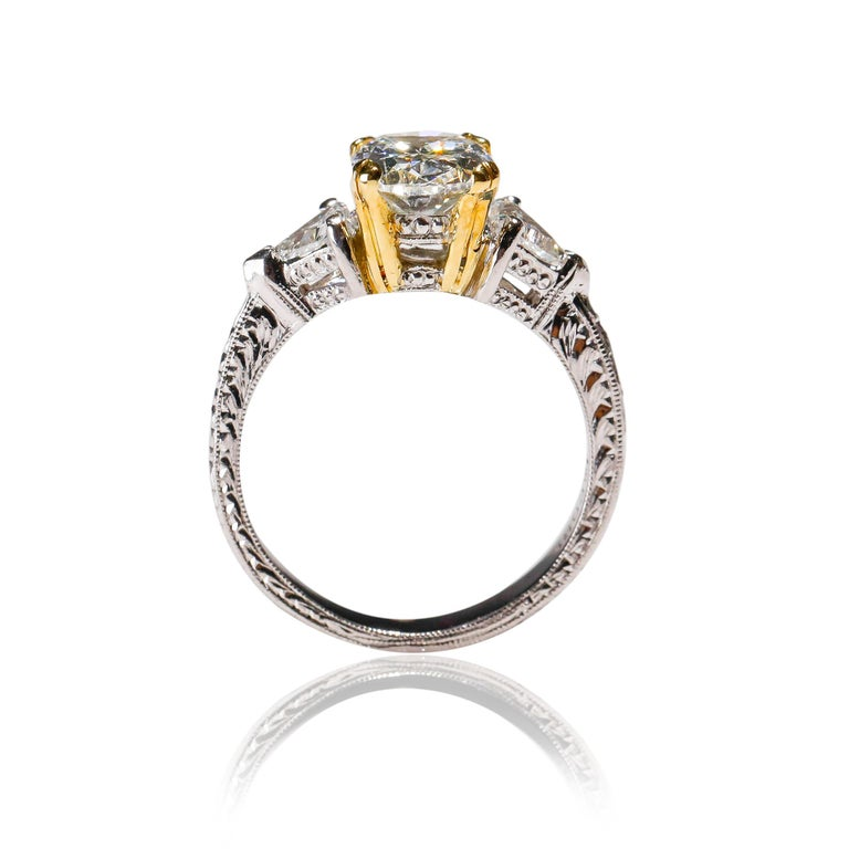 Victorian Platinum 2.5 TCW Diamond Solitaire Ring Engagement Ring Designed by Tacori  For Sale