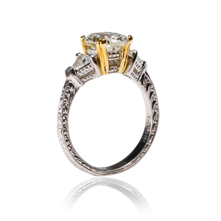 Oval Cut Platinum 2.5 TCW Diamond Solitaire Ring Engagement Ring Designed by Tacori  For Sale