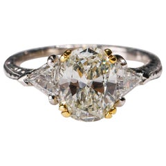 Platinum 2.5 TCW Diamond Solitaire Ring Engagement Ring Designed by Tacori
