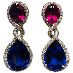 Platinum Diamond, Tanzanite and Rubellite One Off Earrings