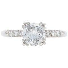Platinum Diamond Vintage Engagement Ring, 900 Round Cut 1.18 Carat