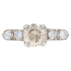 Platinum Diamond Vintage Engagement Ring Round Brilliant 1.20ctw Champagne Brown