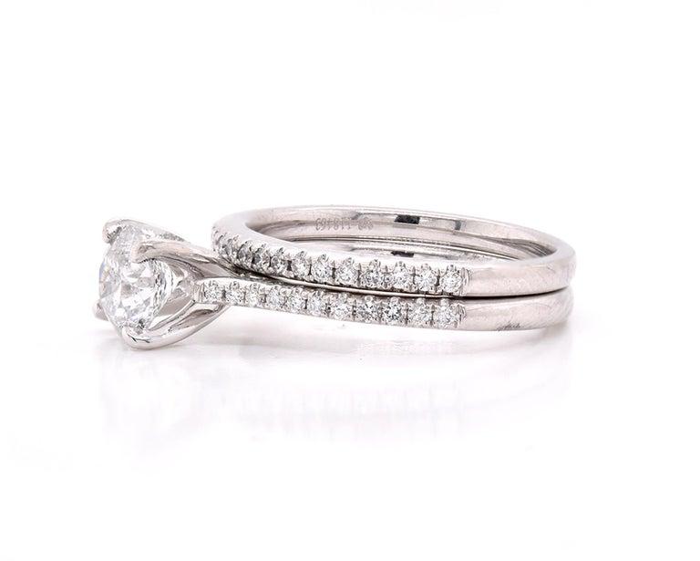 Round Cut Platinum Diamond Wedding Set For Sale
