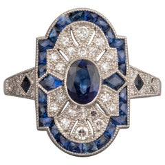 Platinum Diamonds an Sapphires French Art Deco Ring